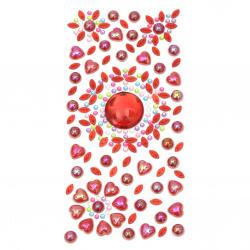 Αυτοκόλλητα στρας περλέ 3 ± 25 mm κόκκινο
