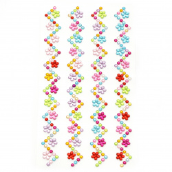 Self-adhesive stones acrylic Zig zag flowers colored
