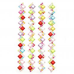 Self-adhesive stones acrylic Zig zag square colored