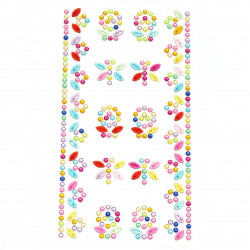 Self-adhesive stones acrylic Flowers and butterflies colored