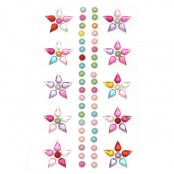 Self-adhesive stones acrylic and pearl Flowers colored