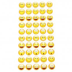 Autocolante autoadezive 20 mm Emoticoane amestecate - 50 buc