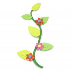 Ramură cu flori de foam / material EVA / 130x260 mm - 6 bucăți