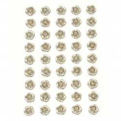 Self-adhesive flower pearls 10 mm silver color - 45 pieces