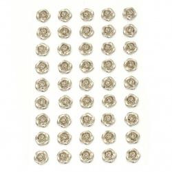 Perle autoadezive de flori 10 mm culoare argintie - 45 bucăți
