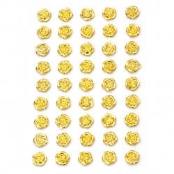 Самозалепващи перли цвете 10 мм цвят злато - 45 броя