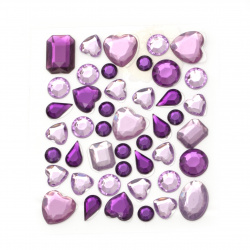Self-adhesive acrylic stones various shapes purple color