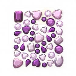 Самозалепващи камъни акрил разни форми цвят лилав