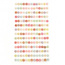 Self-adhesive acrylic flowers 5 mm rainbow assorted - 182 pieces