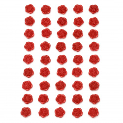 Self-adhesive flower pearls 10 mm red - 45 pieces