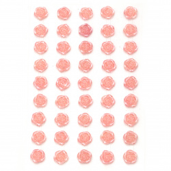 Self-adhesive flower pearls 10 mm pink light - 45 pieces