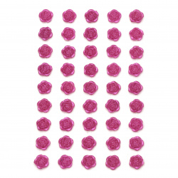 Self-adhesive flower pearls 10 mm cyclamen - 45 pieces