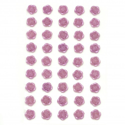 Self-adhesive flower  pearls 10 mm purple - 45 pieces