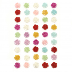 Self-adhesive flower pearls 10 mm mix - 45 pieces