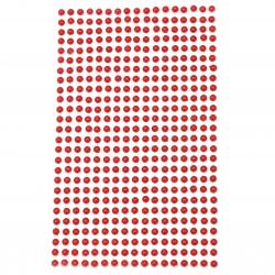 Самозалепващи перли полусфери 4 мм червени - 442 броя