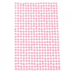 Αυτοκόλλητα στρας περλέ 4 mm ροζ - 442 τεμάχια