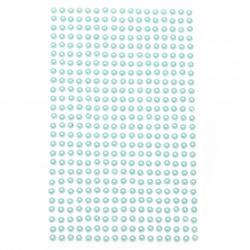 Самозалепващи перли полусфери 4 мм тюркоаз - 442 броя