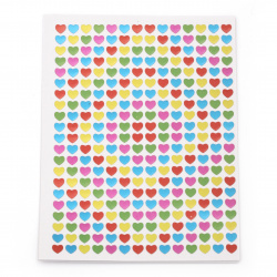 Самозалепващи стикери 5 мм сърца микс 10 листа х 294 броя