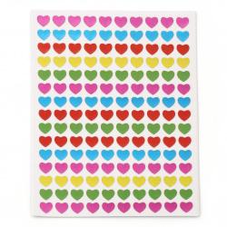 Самозалепващи стикери 8 мм сърца микс 10 листа х 150 броя
