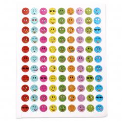 Самозалепващи стикери 8 мм усмивки микс 10 листа х 99 броя