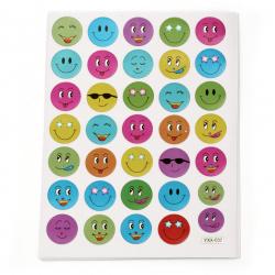 Самозалепващи стикери 15 мм усмивки микс 10 листа х 35 броя