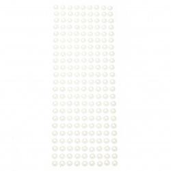 Self-adhesive pearls hemispheres 8 mm white - 207 pieces