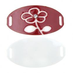 Свързващ елемент плочка с кристал 34x18 мм дупка 6 мм бяло и червено -5 броя