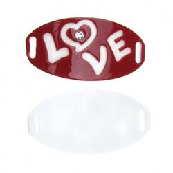 Свързващ елемент плочка с кристал 35x17 мм дупка 2 мм бяло и червено -5 броя