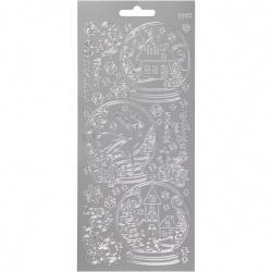 Autocolante autoadezive cu motiv Glob de zăpadă Creativ 10x23 cm argint -1 coală
