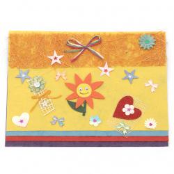 URSUS скрапбук комплект Yellow - хартия mulberry асорти цветове 4 листа А5 10x15 см и микс декоративни елементи