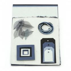URSUS комплект за скрапбук албум Blue Selection light of scrapbook sets хартия mulberry 4 листа А4 асорти цветове ръчна хартия 3 листа 55x47 см и микс декоративни елементи