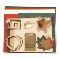 URSUS Σετ για άλμπουμ / λεύκωμα Nature χαρτί 80 γραμμάρια mulberry 5 φύλλα 30x30 cm, χαρτί 25 g mulberry 5 φύλλα 21,5x27,5 cm, χειροποίητο χαρτί 10 g 3 φύλλα 55x47 cm διάφορα χρώματα και μιξ διακοσμητικά στοιχεία