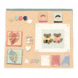 URSUS Σετ για άλμπουμ / λεύκωμα Kids χαρτί abaca 2 φύλλα ανάμεικτα χρώματα 30,5x30,5 cm, χειροποίητα διακοσμητικά στοιχεία