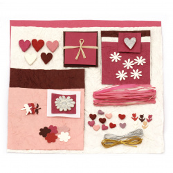URSUS Σετ για άλμπουμ / λεύκωμα Sweetheart χαρτί abaca 2 φύλλα 30,5x30,5 cm διάφορα χρώματα, χειροποίητα διακοσμητικά στοιχεία