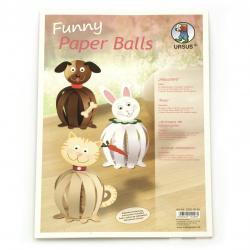 URSUS комплект забавни топки от хартия 210 гр 80 мм Домашни любимци 6 броя