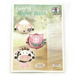 URSUS комплект забавни топки от хартия 210 гр 80 мм Животни от фермата 6 броя