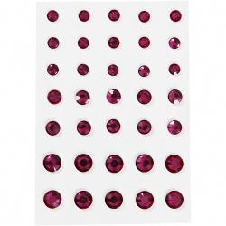 Αυτοκόλλητες ακρυλικές πέτρες από 6 mm 8 mm και 10 mm ροζ -35 κομμάτια