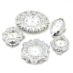 Часовник метал цвят сребро кристали 29~37x22~48x8 мм дупка 1~2.5 мм АСОРТЕ