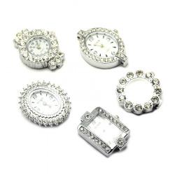 Часовник метал цвят сребро кристали 26~34.5x19.5~26x7~8 мм дупка 1 мм АСОРТЕ
