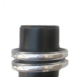 Гривна пластмаса с брокат гладка 9 мм диаметър 64 мм бяла -12 броя