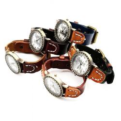 Часовник естествена кожа метал цвят античен бронз 260x18x3 мм АСОРТЕ