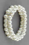 Гривна стъклени перли 8 мм кристали 50 мм бяла