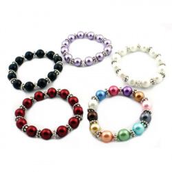 Гривна Тибетски стил перла стъклена 12 мм еластична АСОРТЕ