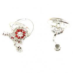 Δαχτυλίδι με κρυσταλλάκια και κρεμαστό κόκκινο