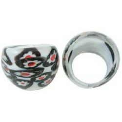 Пръстен съкло Милефиори ръчна изработка 18x24 мм