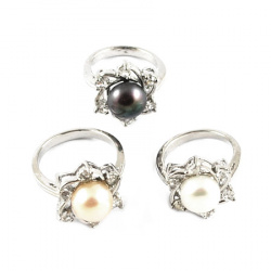 Пръстен метал естествена перла кристали