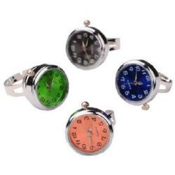 Пръстен часовник копче Тик-так метал цвят сребро 19 мм АСОРТЕ