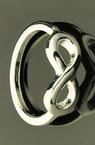 Пръстен метал цвят бял безкрайност 17 мм
