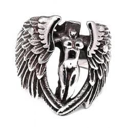 Пръстен стомана цвят антично сребро Ангел 17~23 мм