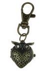 Ключодържател часовник отварящ метал цвят античен бронз кристали 70 мм бухал